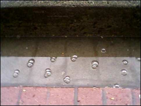 Rain bubbles on sidewalk, Amherst, MA (cell phone pic)