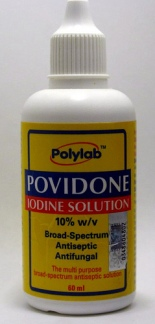 Providone Iodine solution by Polylab. (Photo credit: artist in doing nothing)  Photo by Stan Dalone, Flikr