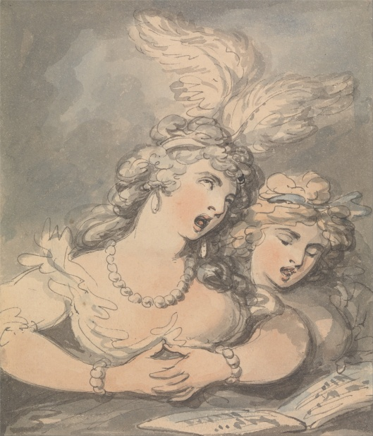The Opera Singers by  Thomas Rowlandson.  Source:  Wikimedia Commons