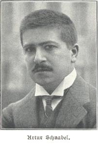 Artur Schnabel (* 17. April 1882 in Kunzendorf (Lipnik) bei Biala; † 15. August 1951 in Axenstein, Schweiz). Scan from Spemanns goldenes Buch der Musik. Stuttgart: W. Spemann , 1906.  Source:  Wikimedia.