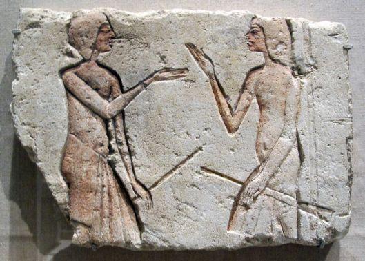Source: Wikimediacommons File: Nuovo_regno,_fine_della_XVIII_dinastia,_conversazione, 1352-1336 ac ca, da el amarna poi hermopolis.JPG